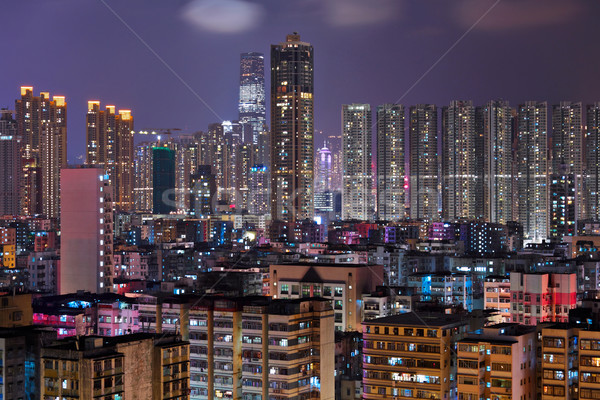 Hong Kong crowded urban city at night Stock photo © leungchopan