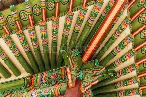 Traditional korean paintwork on wooden buildings Stock photo © leungchopan