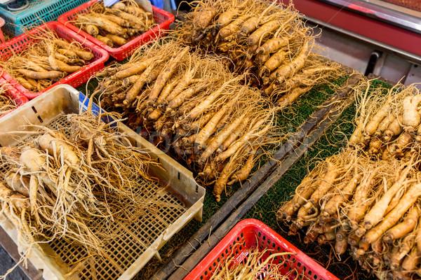 женьшень группа рынке растительное здорового Stick Сток-фото © leungchopan