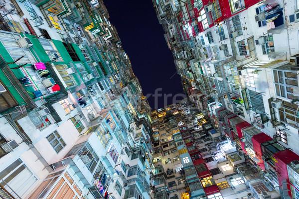 Hong Kong packed buildings at night Stock photo © leungchopan