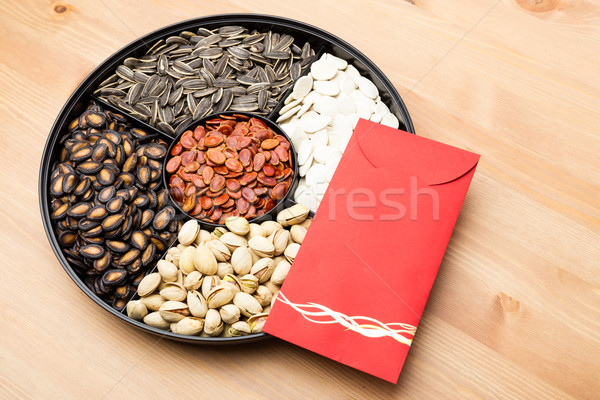 Assorted Snack box and red pocket for Lunar new year Stock photo © leungchopan