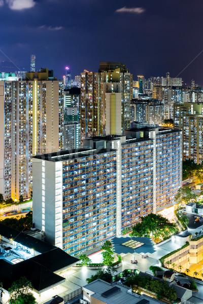 Zdjęcia stock: Hongkong · mieszkaniowy · budynku · krajobraz · niebieski · noc