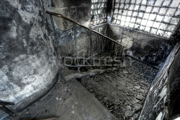 High Dynamic Range Image of a Burned Out building, stair Stock photo © leungchopan