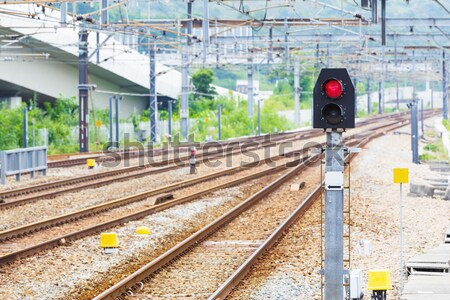 Train chemin de fer signal lumière métal pierre Photo stock © leungchopan