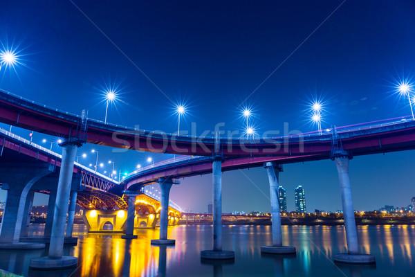Auto-estrada Seul noite estrada cidade ponte Foto stock © leungchopan