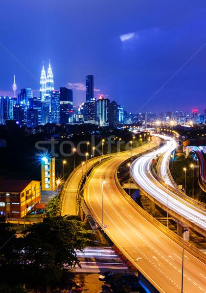 Kuala Lumpur ufuk çizgisi gece iş gökyüzü ofis Stok fotoğraf © leungchopan