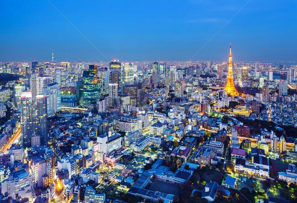 Tóquio cityscape noite cidade torre Japão Foto stock © leungchopan
