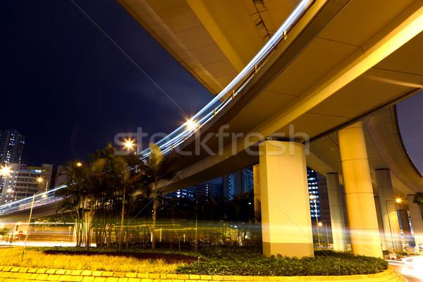 高速公路 夜 汽車 抽象 橋 藍色 商業照片 © leungchopan