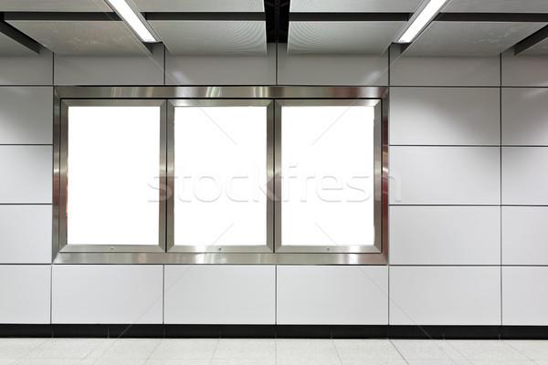 Blank billboard in metro station Stock photo © leungchopan