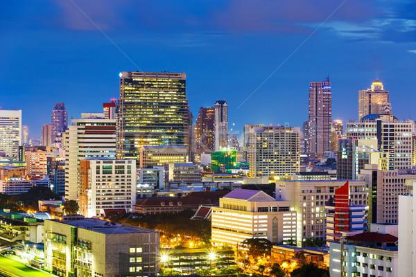 Bangkok şehir gece iş gökyüzü ofis Bina Stok fotoğraf © leungchopan