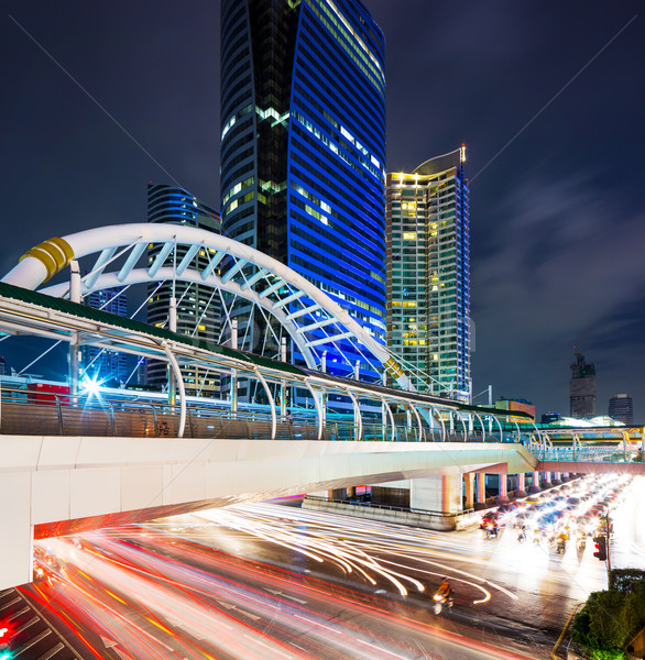 Bangkok cityscape and traffic congestion Stock photo © leungchopan