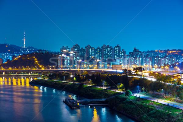 Urbano cidade Seul montanha noite linha do horizonte Foto stock © leungchopan