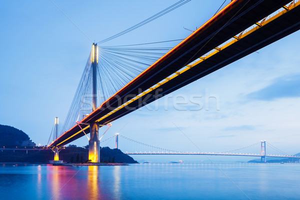 Suspension bridge in Hong Kong at night Stock photo © leungchopan