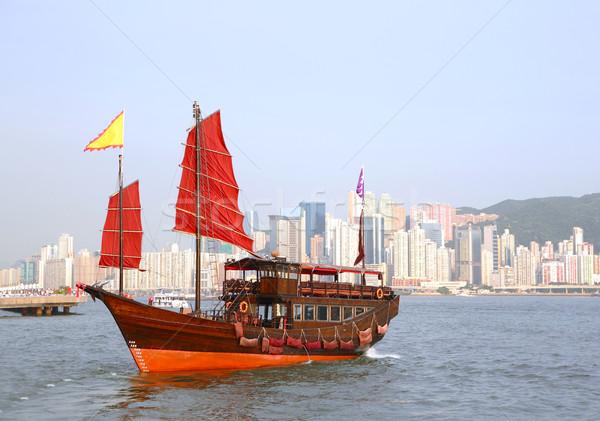 Foto stock: Barco · Hong · Kong · madeira · paisagem · mar