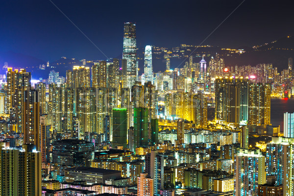 Crowded downtown building in Hong Kong Stock photo © leungchopan