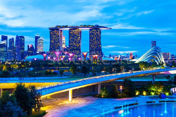 Stok fotoğraf: Singapur · gece · ofis · ufuk · çizgisi · gökdelen · Cityscape