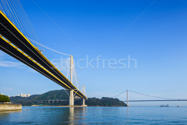 Ting Kau and Tsing Ma suspension bridge in Hong Kong Stock photo © leungchopan