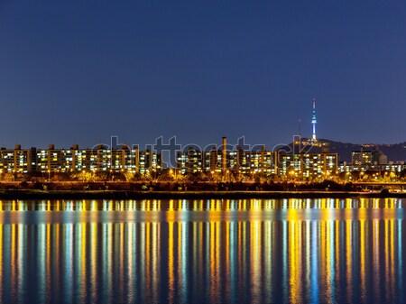 Seul linha do horizonte água cidade mar montanha Foto stock © leungchopan