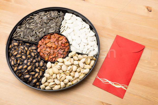 Assorted Snack tray and red pocket for Lunar new year  Stock photo © leungchopan