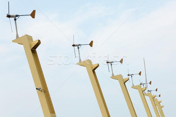 風力タービン ビーチ 空 草 自然 海 ストックフォト © leungchopan