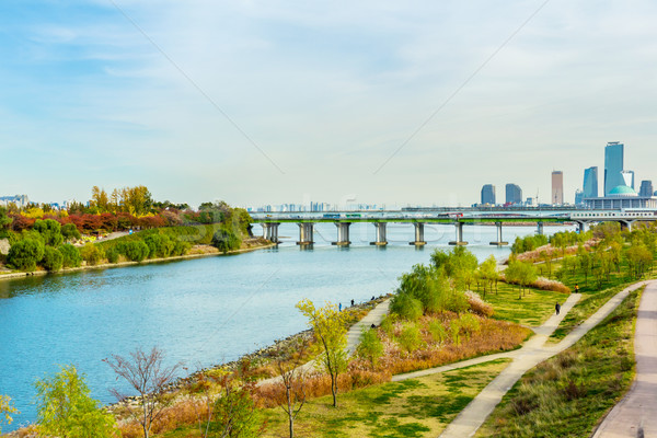 Skyline of Seoul and the Han River Stock photo © leungchopan