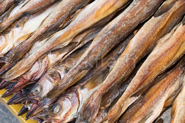 Wyschnięcia słony ryb tekstury rynku Zdjęcia stock © leungchopan