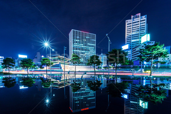 Commercial district and historical building in Seoul  Stock photo © leungchopan