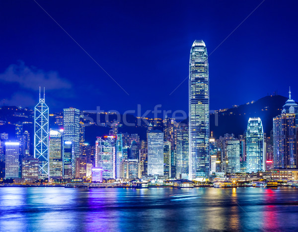 Stok fotoğraf: Hong · Kong · ufuk · çizgisi · gece · iş · Bina · gökdelen