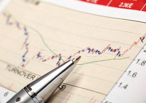 Financiële grafiek pen uitvoerende succes grafiek Stockfoto © leungchopan