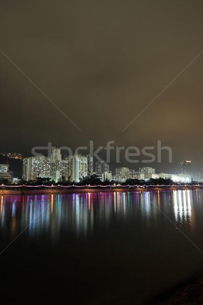 Hong Kong openbare huisvesting rivier hemel gras Stockfoto © leungchopan