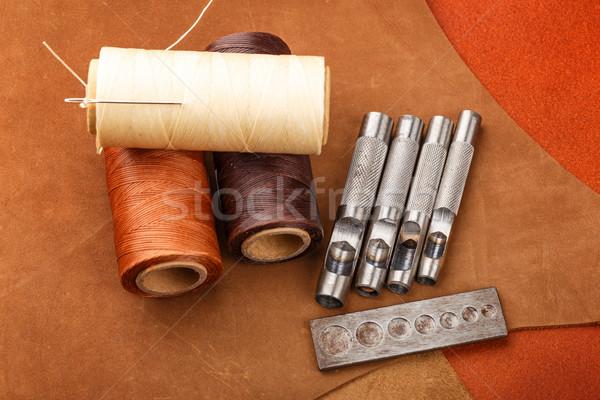 Handmade leather craft equipment Stock photo © leungchopan