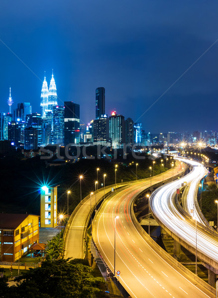 Куала-Лумпур Skyline ночь бизнеса небе здании Сток-фото © leungchopan