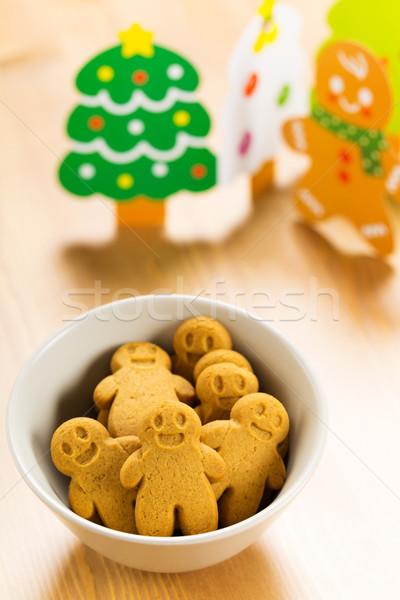 Noël gingerbread man alimentaire homme carte souriant Photo stock © leungchopan