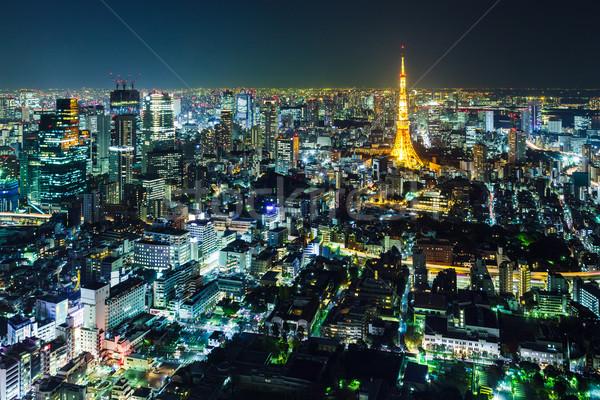 Сток-фото: Токио · Skyline · ночь · бизнеса · здании · город