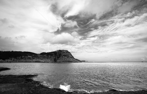 Stock fotó: Part · feketefehér · égbolt · naplemente · tájkép · tenger