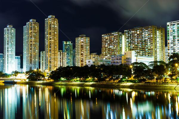 Estanho Hong Kong noite edifício casa linha do horizonte Foto stock © leungchopan