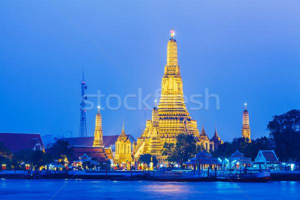 Stok fotoğraf: Bangkok · gece · su · şehir · mimari · Asya