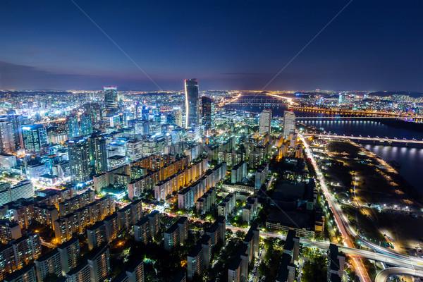 Seoul City and Downtown skyline Stock photo © leungchopan