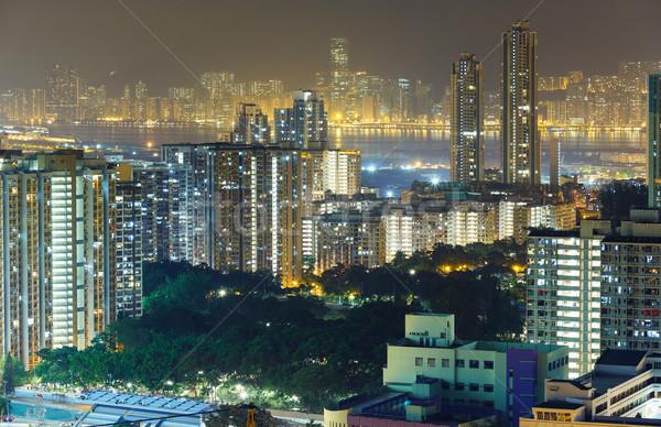 Гонконг ночь семьи стены домой окна Сток-фото © leungchopan