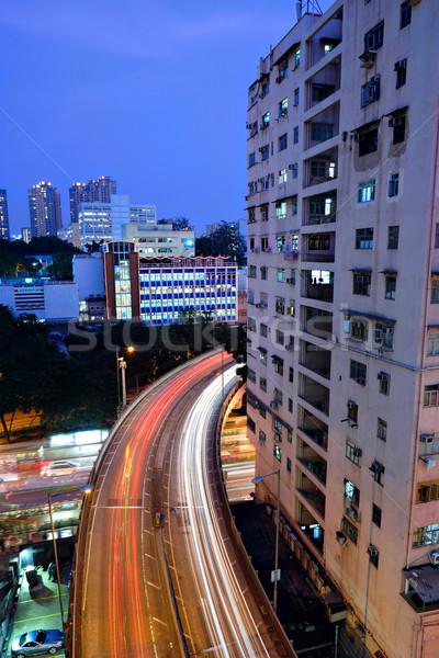 Tráfico nocturna de la ciudad vista alto negocios mundo Foto stock © leungchopan
