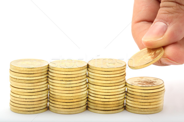 Foto stock: Guardar · dinero · mano · financiar · empresarial · mercado
