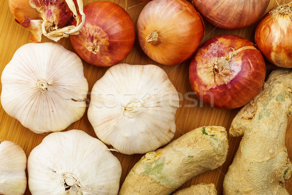 Group of ginger, garlic and allium ascalonicum Stock photo © leungchopan