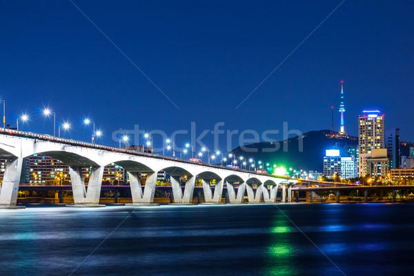 Seul noite escritório água cidade rodovia Foto stock © leungchopan