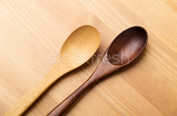 Wooden teaspoon over the wooden background Stock photo © leungchopan