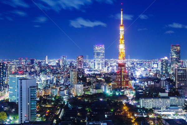 Tájékozódási pont Tokió Japán épületek sziluett építészet Stock fotó © leungchopan