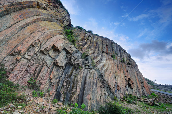 Hong Kong geopark, natural hexagonal column mural Stock photo © leungchopan