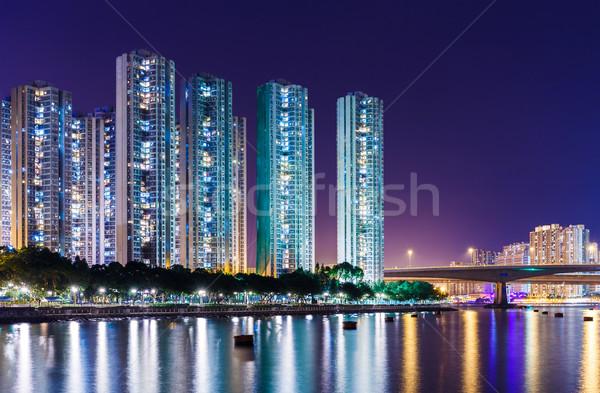 Stok fotoğraf: Hong · Kong · Cityscape · gece · gökyüzü · ofis · su