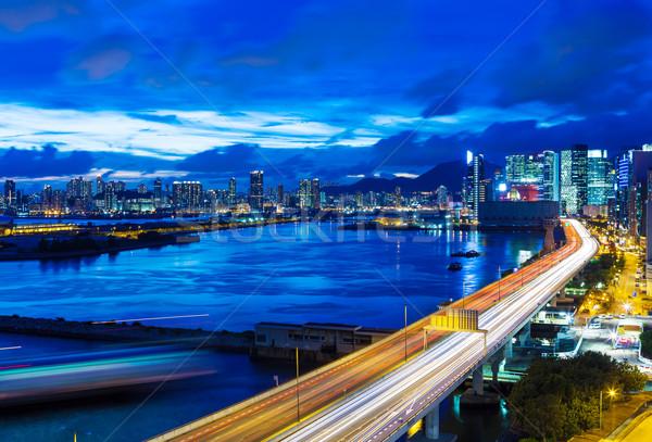 Hong-Kong ville autoroute nuit bureau eau Photo stock © leungchopan