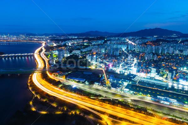 Seul Night City działalności drogowego budynku most Zdjęcia stock © leungchopan