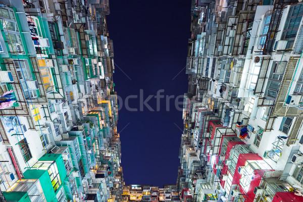 здании Гонконг домой окна ночь жизни Сток-фото © leungchopan